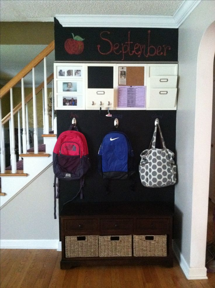 Entryway backpacks organization chalkboard paint back Ideas for hanging backpacks