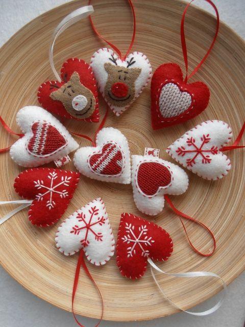 Szívek Karácsonyi dekoráció 10 db., Dekoráció, Karácsonyi, adventi apróságok, Otthon, lakberendezés, Karácsonyi dekoráció, Meska