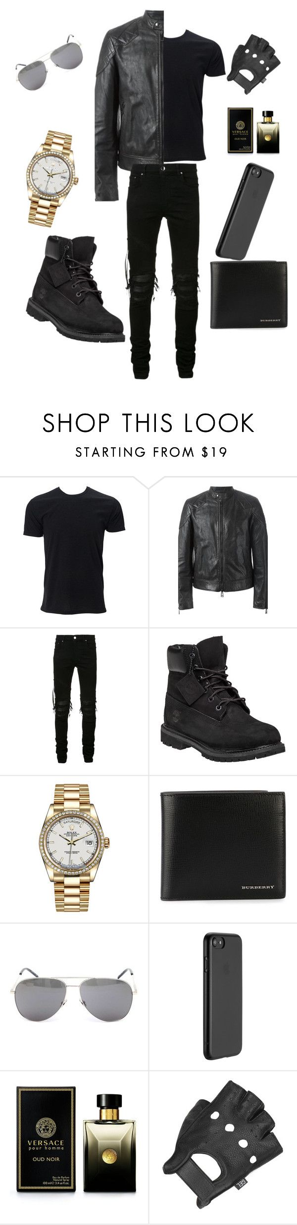 """""""Biker"""" by kaela-baby ❤ liked on Polyvore featuring Simplex Apparel, Belstaff, AMIRI, Timberland, Rolex, Burberry, Yves Saint Laurent, Just Mobile, Versace and Wilsons Leather"""