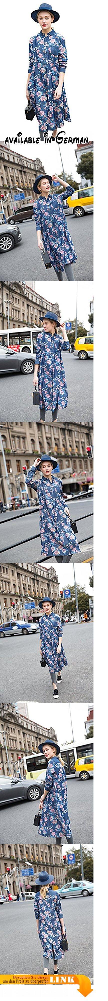 YOU.U 2017 Neuer Sommer / Herbst Frauen Blumendruck Thin Denim Blue Lange Jacke, 100% Lyocell Button-Down Shirt Kleid, Long Sleeves Mantel. Traditioneller chinesischer Stil und moderne Jean-Kombination - wenn man diesen Mantel auf den ersten Blick sieht, wirst du ihn mit dem chinesischen Chi-pao verbinden. All-over rosa Blumendruck ist das Highlight, mittlerweile passend es mit demim blauem Hintergrund, perfekt kombinieren zwei Stile Zusammen, was dazu beiträgt, dass es