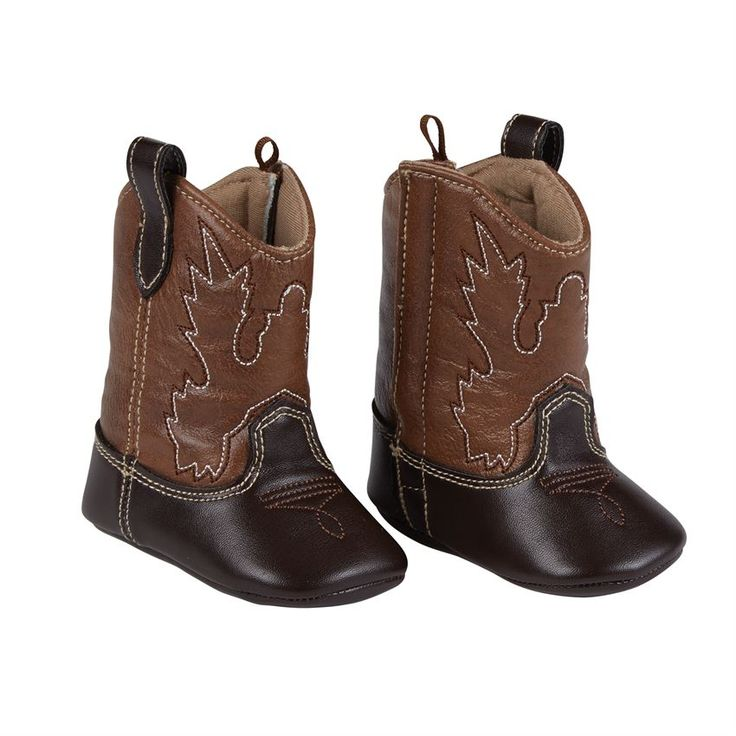 Brown cowboy boots with authentic stitching detail feature Velcro closure.