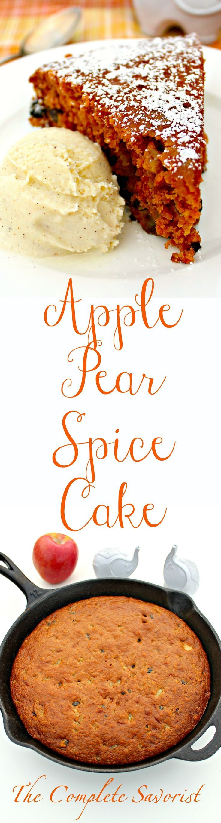 Apple Pear Spice Cake ~Warm spices, raisins, applesauce, and diced pears make a delicious autumn cake ~ The Complete Savorist #CampChef @campchefmfr