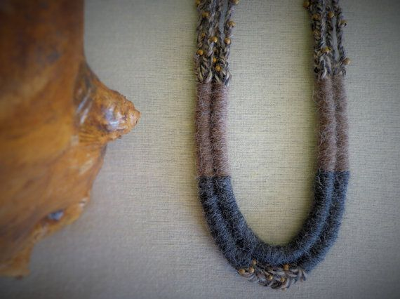 Brown Fiber statement necklace Alpaca wool by EvisHandmadeJewels