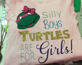 Items similar to Glitter Face Mask Girl Ninja Turtle - Machine Appliqued Embroidered Ruffle T-shirt on Etsy