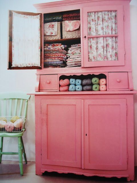 soaring-imagination: Prety pink fabric and yarn cabinet from the book Pretty Pastel Style by Selina Lake via the MemeRose blog.