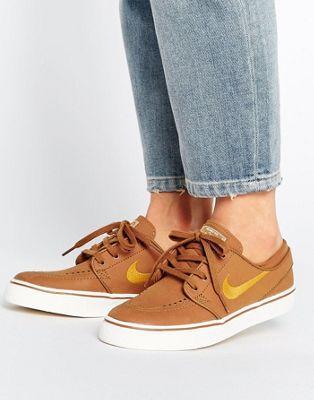 Nike SB Zoom Janoski Sneakers In Tan Suede