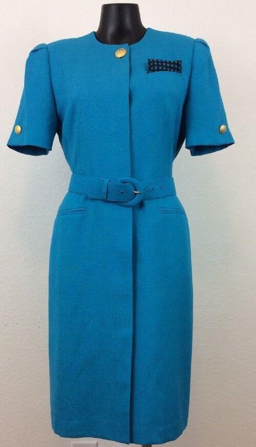 KASPER FOR ASL PETITE 6P Turquoise Blue Smart Belted Fully Lined Dress (AE)  #KasperforASLPetites #Formal