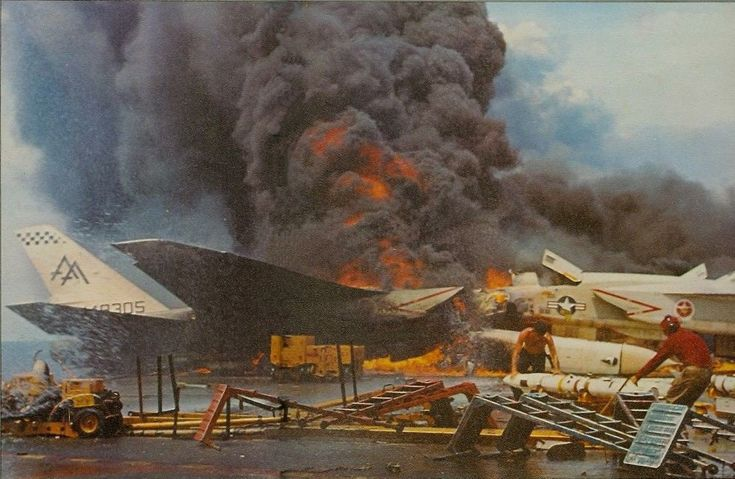 navy forrestal | Fire aboard the US Navy aircraft carrier USS Forrestal (CVA-59) on ...
