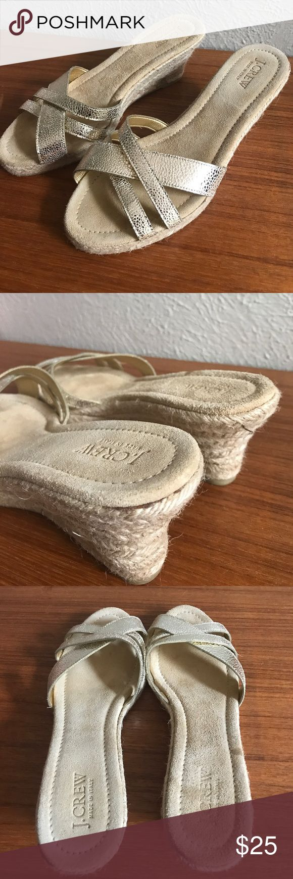 J. Crew metallic espadrilles wedges Pretty shoes in good used condition.  Marks on. Ottoman Of sole.  Perfect for a wedding, comfy and cute J. Crew Shoes Wedges