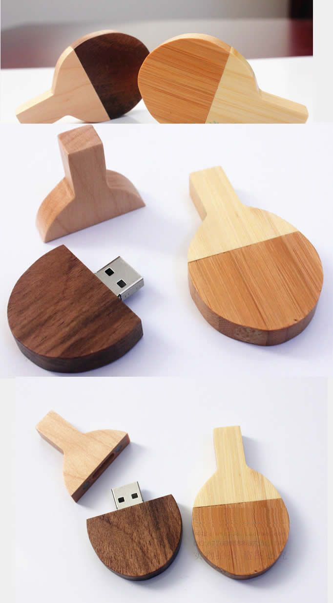 Table Tennis Bamboo Wooden USB Flash Drive