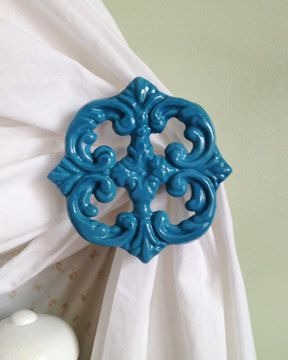 Curtain Tie Backs, Peacock Blue, Curtain Tiebacks, Curtain Holdbacks, Cast Iron, Victorian, Shabby Chic