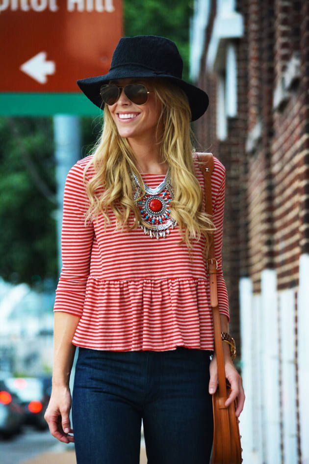 Peplum + stripes + statement necklace