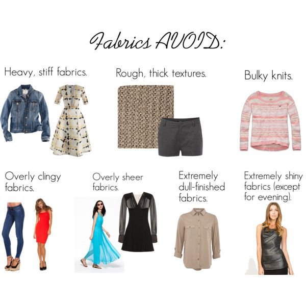 """SC Fabrics AVOID"" by oscillate on Polyvore I agree with most... but not with the skinny jeans! ;-)"