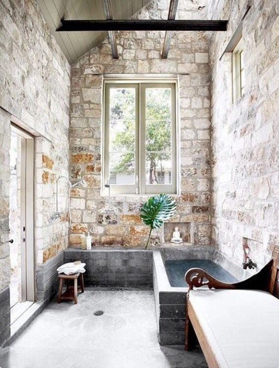 A stone bath house back near the Writing Shack and the Sewing Shed. Just a powder room set-up, not a full bath.