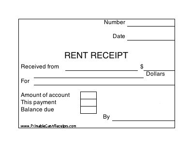FREE PDF--A set of four identical rent receipts, with room to note whether there is still a balance due to the landlord or property owner. Free to download and print