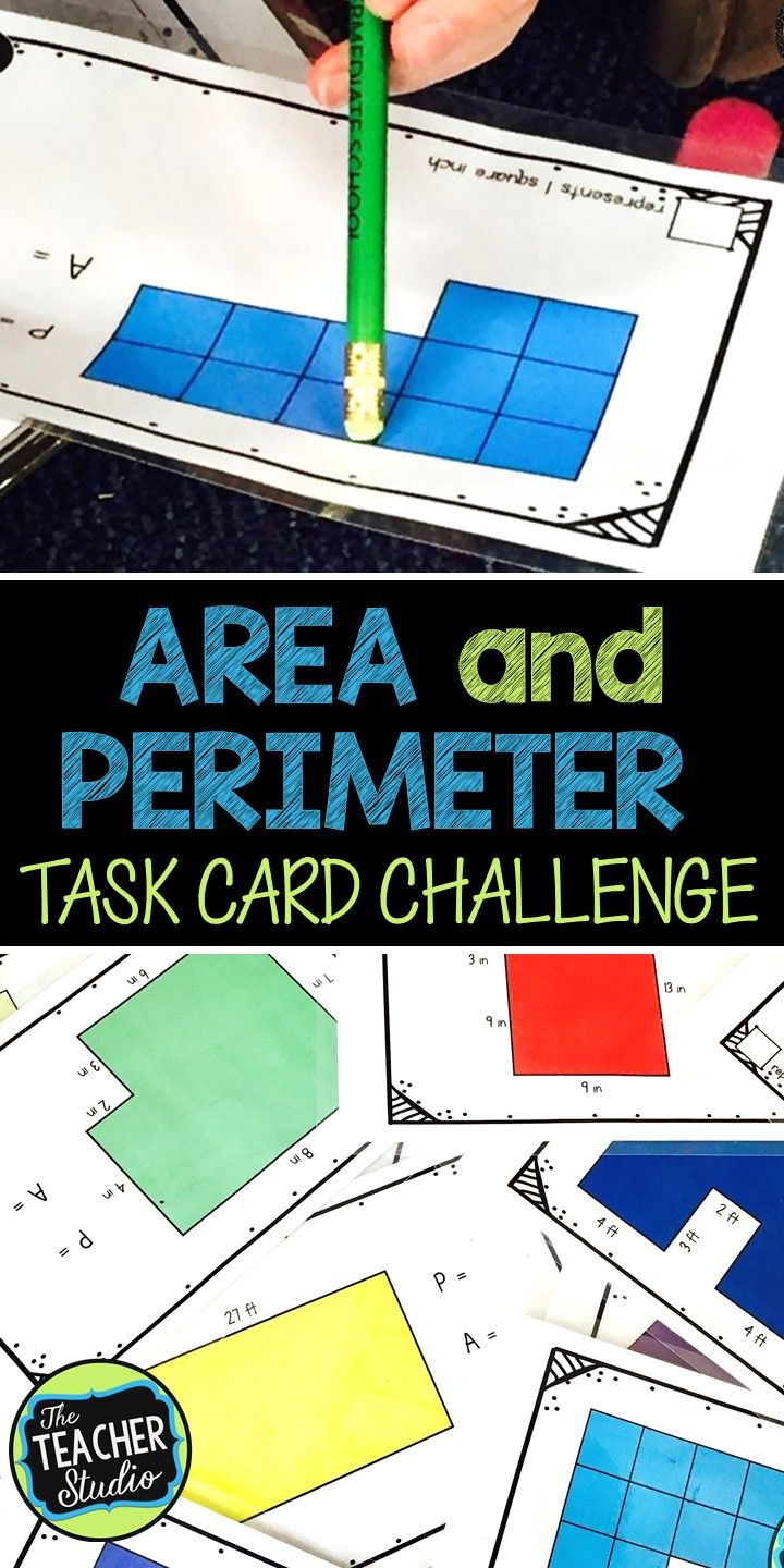 "Looking for a way to give your students additional practice with area and perimeter skills? This set of 20 cards increases in difficulty throughout the set. The first cards involve counting squares to find area and perimeter. As the set progresses, students use the area and perimeter formulas to solve ""open"" rectangle problems. Finally, the last 8 cards have ""irregular"" shapes that require students to either decompose the shape into smaller rectangles.   Use as a math station…as a class…"