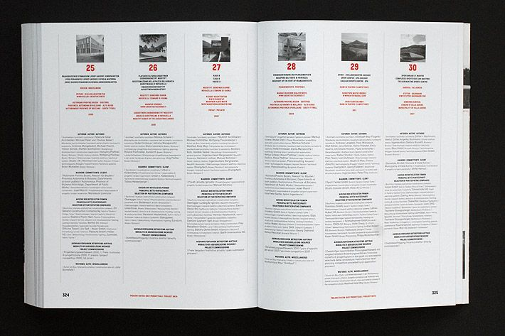 This exhibition catalogue presents a selection of 36 architectural projects built in South Tyrol from 2006 till 2012. The book is divided into two parts: an informational part including texts, images and drawings in black and red, and a representational part with impressive color images. We chose an uncoated bulky paper for the first part and a coated paper for the second part, creating two different haptics and visual effects. The book is structured with interludes of landscape photography…