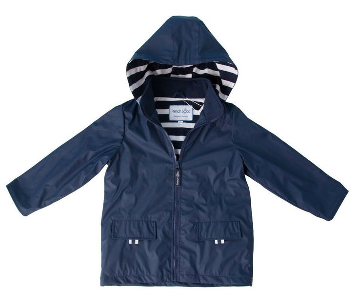 Funky, stylish and built to withstand the elements... rain, wind & wintry days that is!  Navy blue Billie kids raincoat by French Soda!  Whether it's jumping in puddles or a day out on the high seas, this is the perfect raincoat to keep the wet and chill at bay! 100% waterproof and features 100% jersey cotton lining ensuring they'll stay dry and warm. 100% Waterproof / 100% Jersey Cotton Lining #littlebooteekau #kidsraincoat