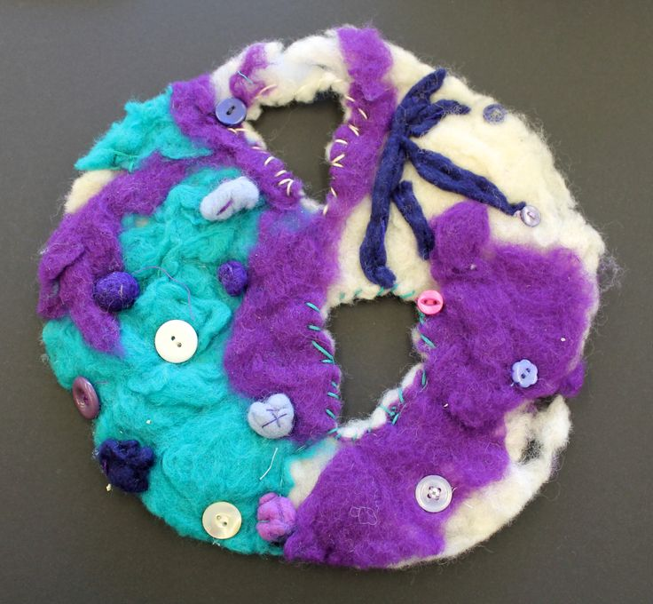 Miss Allen's Year 7 Students work from Princess Helena College. A 'Cells and Bacteria' felt piece.
