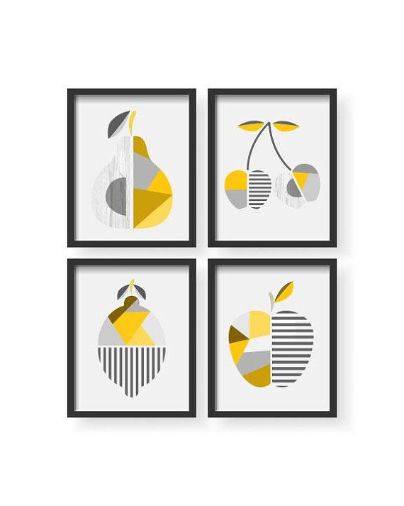 Abstract Modern Geometric Yellow Gray Kitchen Decor Abstract Fruit