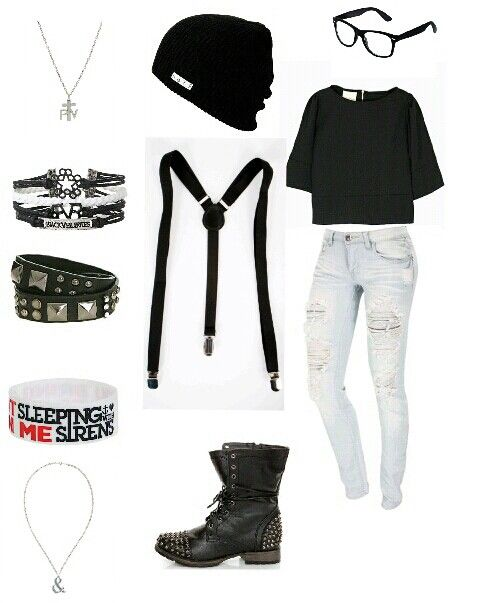 Cute and simple emo outfit for school! | iCreations | Pinterest | The outfit Bracelets and Glasses