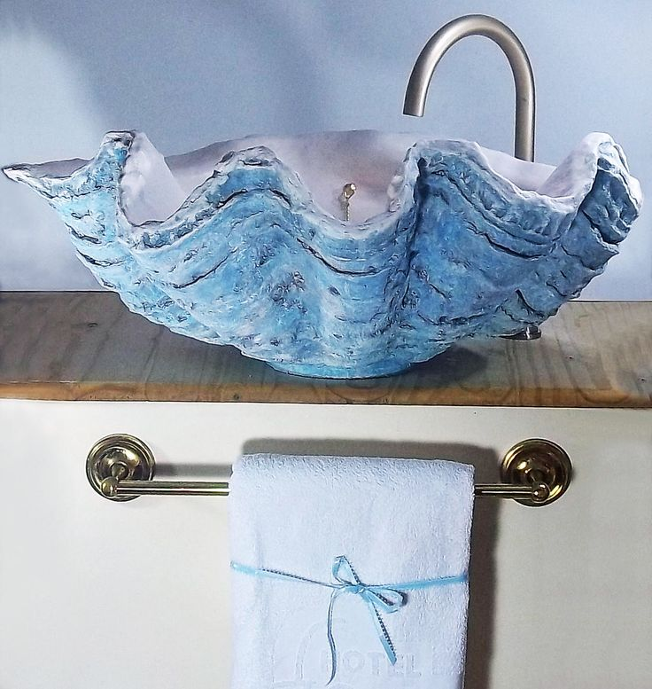 Giant Clam Shell Bathroom Sink Wash Basin Counter Top Cloakroom In  Aquamarine Blue By Littlegemsar On