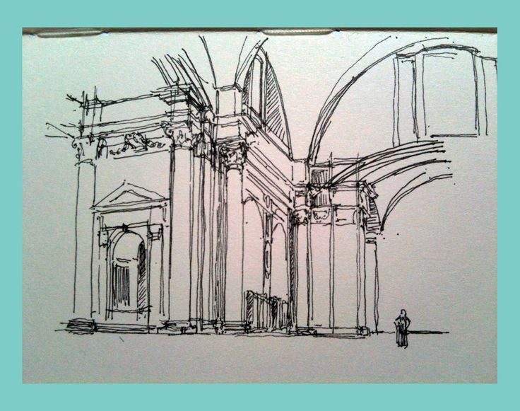 santa maria degli angeli - sketch from notebook, ink