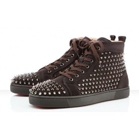 Christian Louboutin Louis Flat Mens Spikes Sneakers Brown