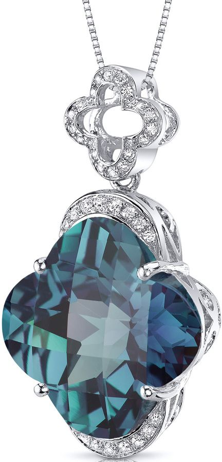 Ice 21 CT TW Alexandrite and Cubic Zirconia  Silver Pendant Necklace