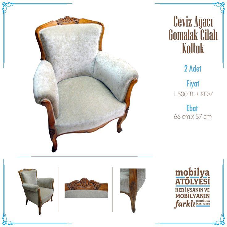 Mobilya detaylarında 1950'lerin keyifli bitkisel motiflerini taşıyan yenilenmiş koltuk mobilyaatolyesi.com'da