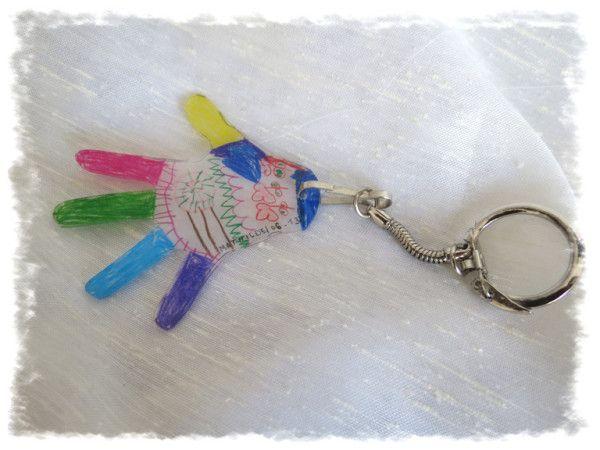 Porte-clé main d'enfant en plastique fou - cadeau fête des Papa
