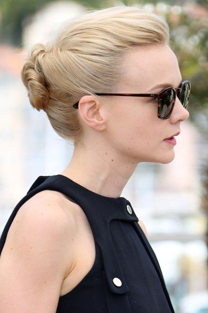 Carey Mulligan: Hair Style File | May 2013 A pretty, low bun proved the perfect hairstyle for a Cannes Film Festival photo call.