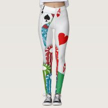 Casino Card Game Blackjack Poker Print Leggings