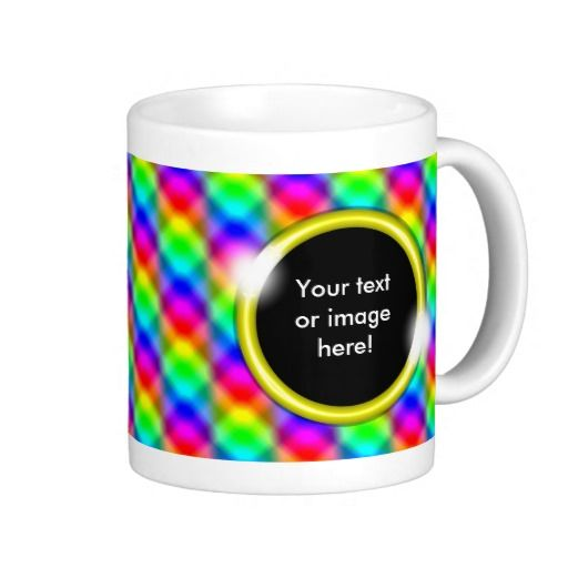 Bling Rainbow Colors Pattern Gold Photo Frame Mug - This colorful mug has a bling rainbow color pattern with blending squares and rectangles. Place a name, text, picture, image or photo inside the sparkling gold frame! This would make a beautiful and personal best friend, Christmas or birthday gift for friends and loved ones.