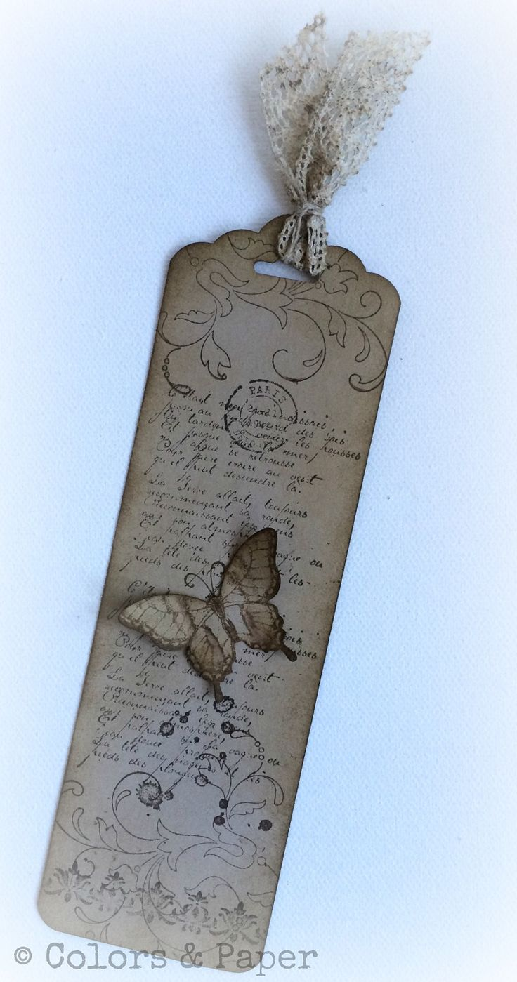 Bookmark in vintage style, Papillon Potpourri, French Foliage, Creative Elements