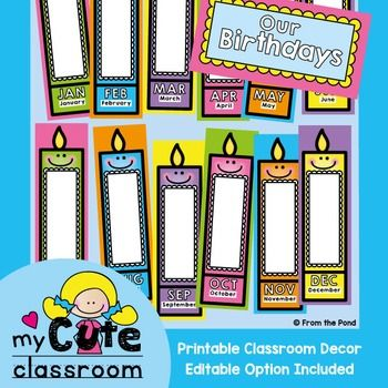 These candle posters will make for a lovely birthday display in your classroom…