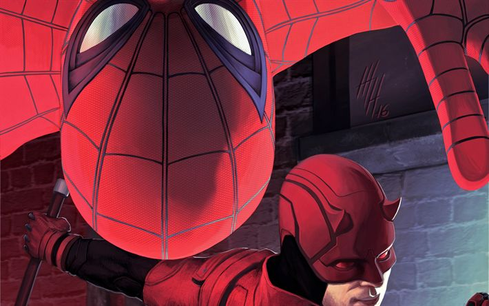 Download wallpapers Spiderman, Daredevil, superheroes, Spider-Man