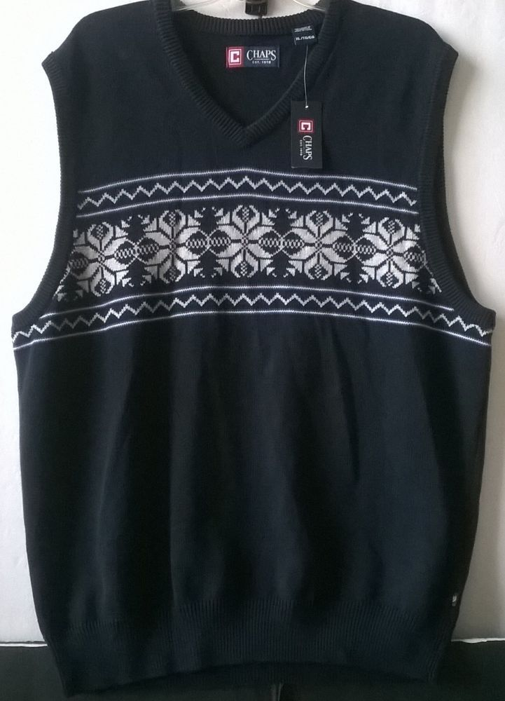 Chaps Snowflake Holiday Sweater Vest Navy Blue Men's XL - Great ...