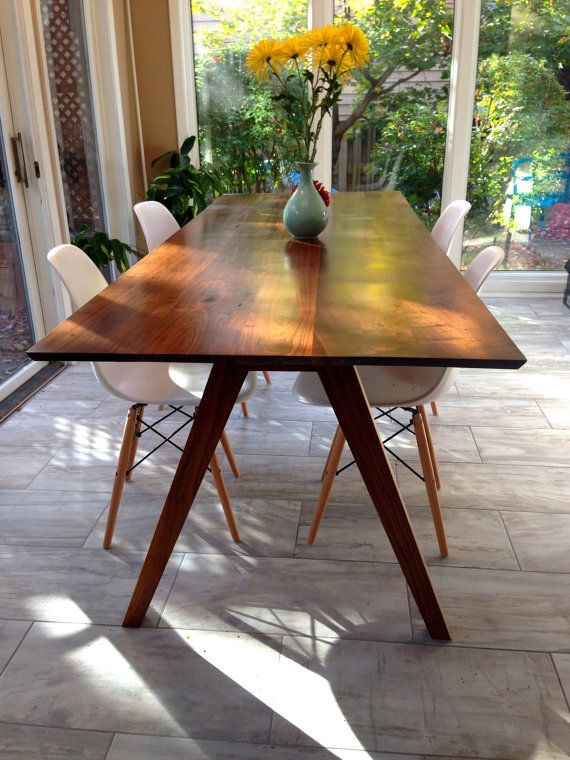 Sputnik Solid Walnut Dining Table Mid Century by moderncre8ve-$1799