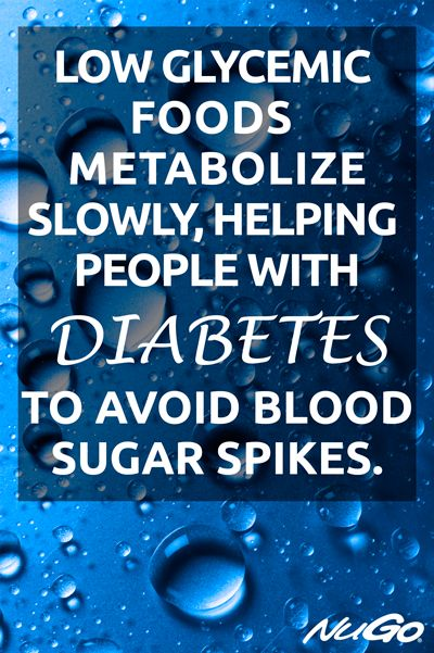 Low glycemic foods metabolize slowly, helping people with #diabetes to avoid blood sugar spikes.