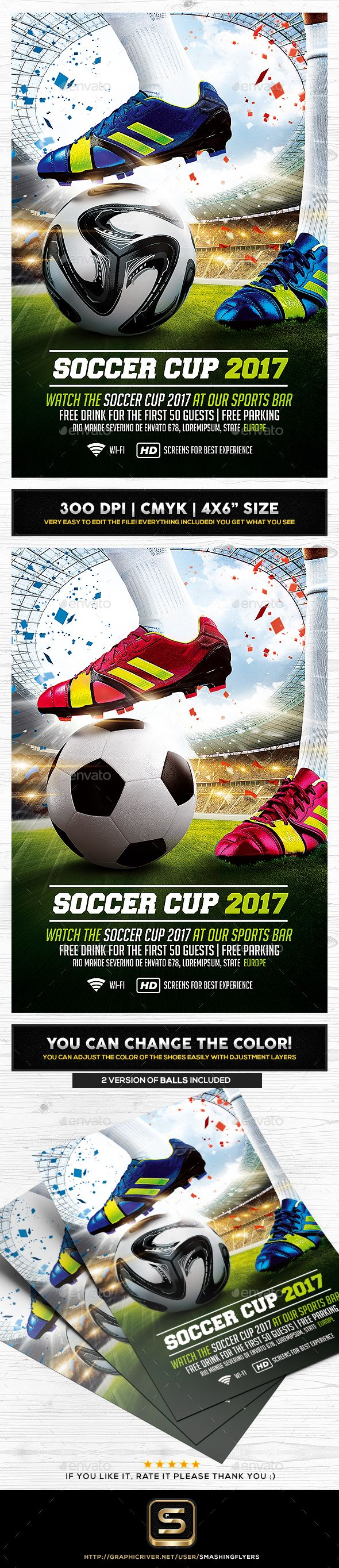 Soccer Cup Flyer Template — Photoshop PSD #football poster #sport bar • Available here → https://graphicriver.net/item/soccer-cup-flyer-template/19843352?ref=pxcr