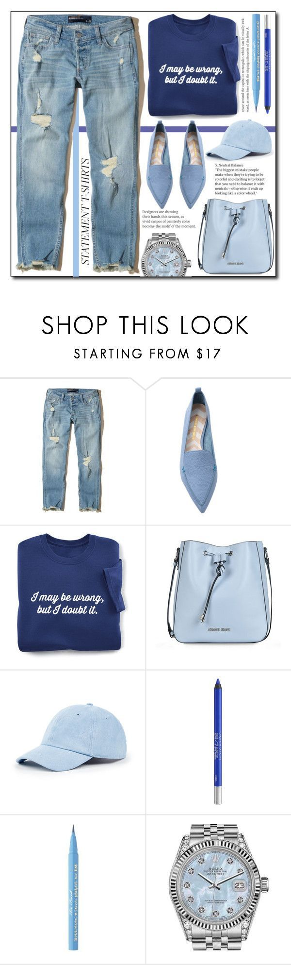 """""""Statement T.shirts (casual) !"""" by emapolyvore ❤ liked on Polyvore featuring Hollister Co., Nicholas Kirkwood, Armani Jeans, Sole Society, Urban Decay, Too Faced Cosmetics, Rolex, flats, jeans and polyvoreeditorial"""