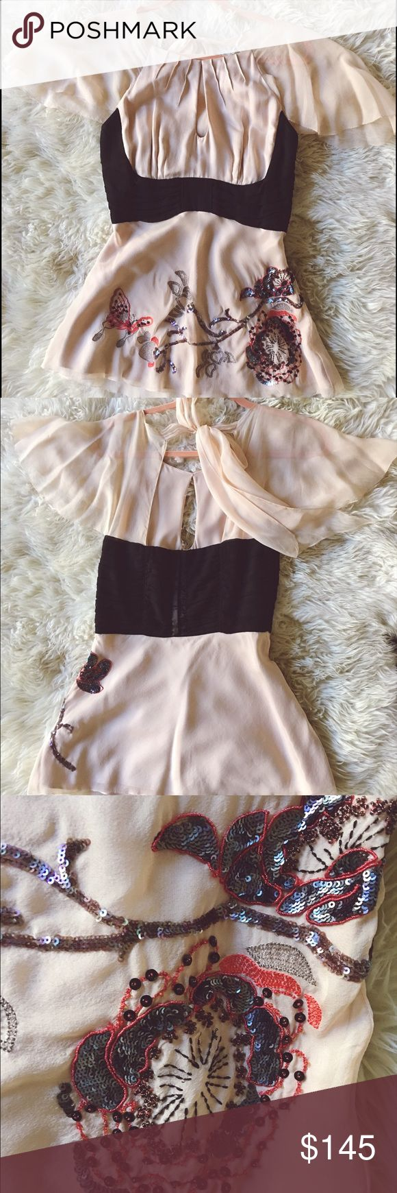 Karen Millen embroidered silk top with corset This 100% silk authentic Karen MILLER top in soft peach color will make you a queen of every party. Match with black skirt, or silk black pants and you have an official outfit to look adorable, classy, fresh and romantic ! ❤️ been worn once! Karen Millen Tops Blouses