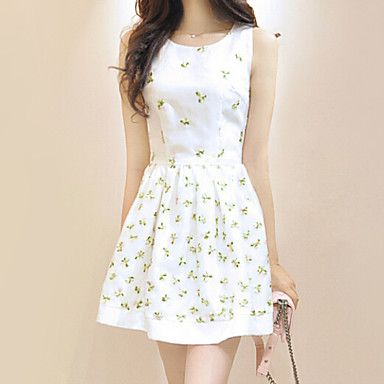 Women's White Dress , Casual Sleeveless – CAD $ 50.96