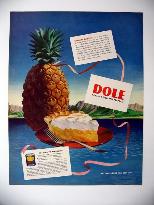 Dole Pineapple Meringue Pie Recipe 1944 print Ad