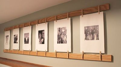 easy photo display - oak boards and clothes pins