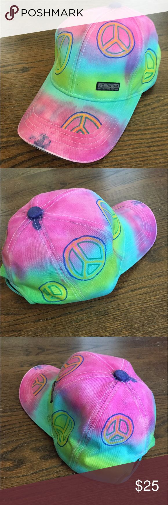 Custom Hippie Hat Polonium Sports Cap decorated with tie-dye (pink blue green) and fabric markers (yellow green blue). Peace signs.  I also sell on Etsy https://www.etsy.com/listing/515287078/custom-hippie-hat. Polonium Accessories Hats