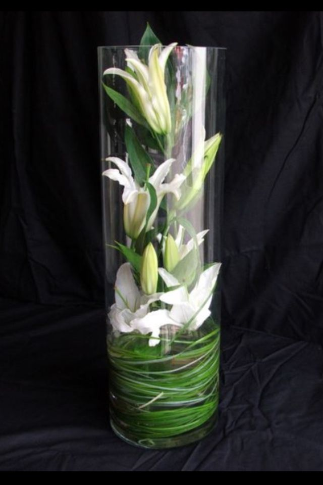 Lily Vase Wedding Flowers : Flowers inside glass vase penny
