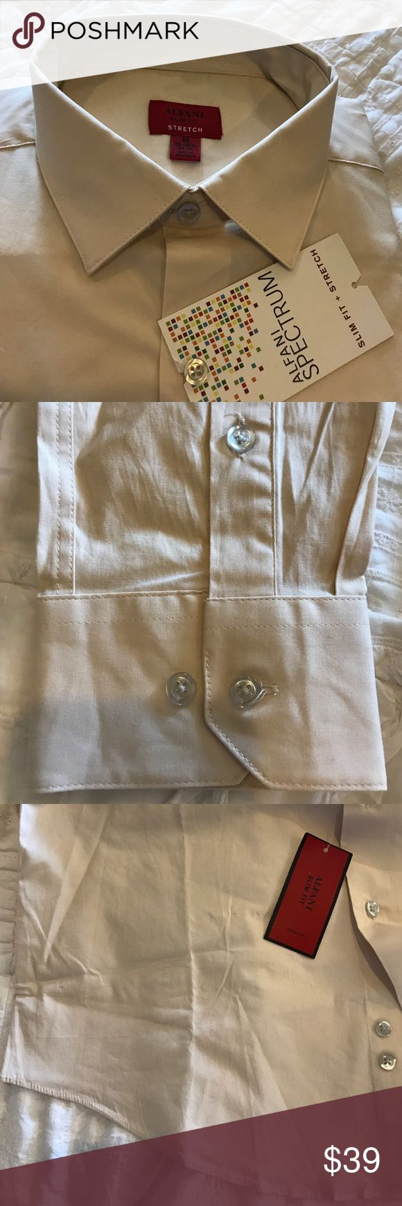 Alfani Men's Slim Fit Dress Shirt, Antique White. Alfani Men's Slim Fit Dress Shirt, Antique White (tan) Size 15-15.5 34/35 Medium. 97% cotton 3% spandex. Alfani Shirts Dress Shirts