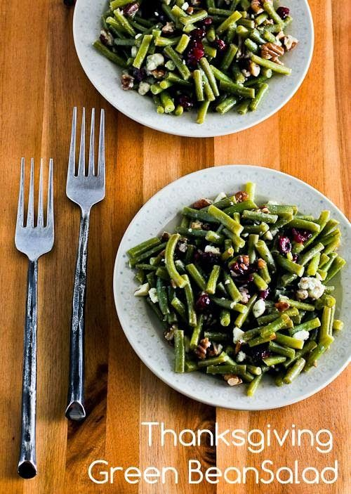 Uh-May-Zing flavors in this Thanksgiving Green Bean Salad Recipe with Blue Cheese, Dried Cranberries, and Pecans, and it can be made ahead! [from Kalyn's Kitchen] #HealthyThanksgiving